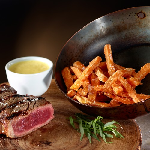 Organic Sweet Potato Fries served with an Organic, Natural Steak from Whole Foods Market